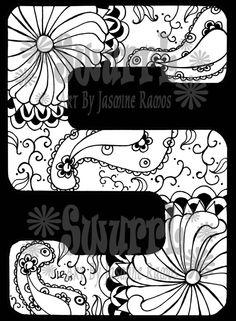 Monogram Letter S Black Backround  Giclee Print of Pen by Swurrl, $12.00