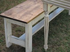 Farm Table and 2 Benches-FARMHOUSE DINING TABLE by cottageandcabin