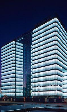 Project: Zhongguancun Cultural Center - CONCEPTLICHT GMBH Facade Lighting, Exterior Lighting, Cool Lighting, Modern Lighting, Lighting Design, Office Building Architecture, Facade Architecture, Commercial Interior Design, Commercial Interiors