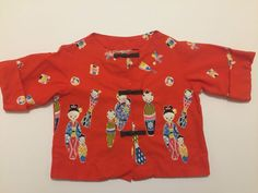 "Vintage 1950s Oriental Asian Red Cotton Print Top ""Sun Babies of Hawaii"" 1958  #SunBabiesofHawaii #Everyday"