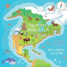 Stock vector of 'North America isometric map with flora and fauna. Cartography c…, Stock-Vektor von 'Nordamerika isometrische Karte mit Flora und Fauna. Kartografie-K …, North America Continent, North America Map, Animal Atlas, Le Castor, Isometric Map, Flora Und Fauna, Social Studies Worksheets, Maps For Kids, Les Continents