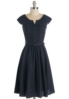 Mix in the Moxie Dress - Blue, Solid, Pleats, Belted, Work, 50s, A-line, Buttons, Vintage Inspired, Fit & Flare, Cap Sleeves, Long, Cotton
