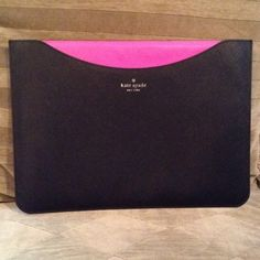 """Kate Spade Slip Sleeve Great black with bright deep pink inside. This  measures 14"""" by 10""""  I can't remember which Mac went in here but it had a list that it fit. In perfect condition . kate spade Accessories Laptop Cases"""