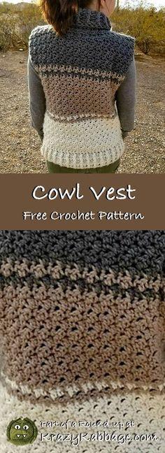 Free Crochet Sweater Patterns – Krazy Kabbage - How To Be Trendy Crochet Saco, Gilet Crochet, Crochet Poncho Patterns, Knitting Patterns Free, Free Crochet, Sweater Patterns, Free Pattern, Crochet Vests, Crochet Sweaters