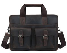 """Men's Genuine Leather Briefcase Messenger Bag 14"""" Laptop MacBook Bag(C07)This handmade leather bag is made with selected materials. The properties of Antique Crazy Horse leather and vintage design make this item unique. A truly one of a kind item. All hand stitched, works excellent.Material: Antique Crazy Horse leather from Italy; durable cotton fabric lining; livid tone hardwareDimensions: Width: 37cm/ 14.5 inchTall(Height): 28cm/ 11 inchThick: 8cm/ 3..."""