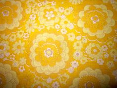 Vintage 1970s Yellow Floral French Fabric by Pommedejour on Etsy, $21.99