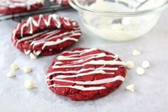 Red Velvet Cheesecake Cookies (more info here: http://www.twopeasandtheirpod.com/red-velvet-cheesecake-cookies/)  These were a HUGE hit!  Use 1/2 as much sugar next time, and try reducing the oil too.  Cake mix could benefit from a little more red food colouring.
