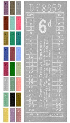 free printable: vintage  bus ticket ephemera (from Sweetly Scrapped)
