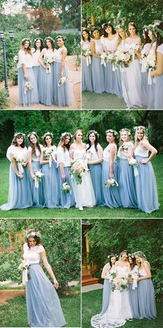 dusty blue tulle bridesmaid dresses I love the skirt and shirt look I've never thought of that Two Piece Bridesmaid Dresses, Tulle Skirt Bridesmaid, Bridesmaid Outfit, Blue Bridesmaids, Wedding Bridesmaids, Wedding Gowns, Wedding Skirt, Tulle Wedding, Dream Wedding