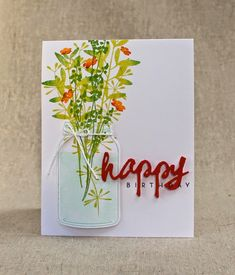 mason jar of wildflowers | July Color Play Papertrey Ink