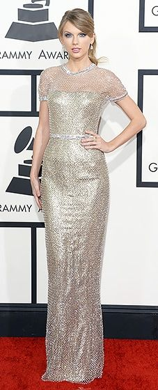 Taylor Swift: 2014 Grammy Awards she killed it in a gold lame gown with crystal mesh overlay by Gucci
