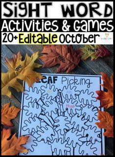 20 EDITABLE Kindergarten Sight Word Activities for October Fall, Pumpkins and Leaves - Kindergarten Rocks Resources
