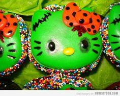Hello kitty Frankenstein cupcakes