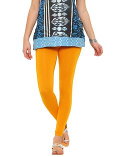 De Moza Ladies Leggings Ankle Length Solid Viscose Lycra Dark Yellow  #fashionblogger #bloggers #womensfahion #pants #ss17 #onlinedeals #skirts #jegging #fashionbloggers #fashionlegging
