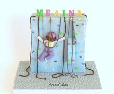 - Climbing Wall Cake... Fondant Cake Designs, Fondant Toppers, 8th Birthday Cake, Boy Birthday, Birthday Parties, Rock Climbing Cake, Climbing Wall, Beautiful Cake Designs, Decoration Patisserie