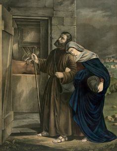 Mary and Joseph enter the stable in Bethlehem on the first Christmas Eve. From original lithograph circa 1870.