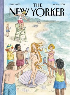 "Roz Chast's ""Venus on the Beach"" - The New Yorker-- ""read"" the cartoon-- media unit Más The New Yorker, New Yorker Covers, New Yorker Cartoons, Roz Chast, The Birth Of Venus, Vintage Poster, Vintage Prints, Norman Rockwell, Museum Exhibition"
