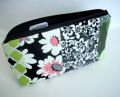 OOAK Black Blends Zipper Pouch Flat bottom Cosmetic Bag by JPATPURSES, $16.00