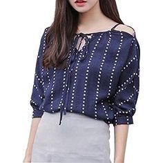 39618f653 Camisa de Mujer de Hombro Manga Corta de Verano con Cordones Blusa de Rayas   Ropa