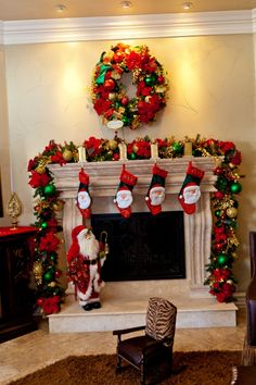 Delightful Home Fireplace Christmas Design Ideas Introduce Brilliant Home Christmas Garland Complete Idyllic Small Hanging Stocking Also Alluring Hanging Wreath Decor. Special Hanging Stockings For Your Mantel Christmas Decoration. Diy Christmas Mantel, Christmas Fireplace Mantels, Fireplace Garland, Gold Christmas Decorations, Christmas Design, Christmas Home, Christmas Wreaths, Christmas Ideas, Vintage Christmas