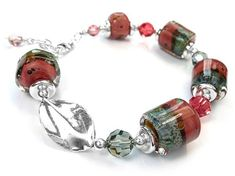 Lampwork Glass Bracelet - Peach Grove Lampwork Beads, Bracelet Designs, Silver Beads, Sterling Silver Jewelry, Swarovski Crystals, Beaded Jewelry, Glass Beads, Peach, Lovers