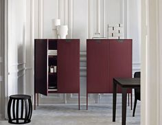 modern burgundy cabinets in white room, wine red, berry red, burgundy, dark cherry red, beet red, maroon, mulberry, garnet, ruby red, pantone tawny port