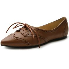 Ollio Women's Ballet Pointed Toe Flat Lace up Oxford Shoe (8 B(M) US, Brown)