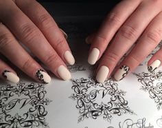 Black and beige nails, Creamy nails, Cute nails, Everyday nails, High-quality nails, Jeans nails, Matte nails, Milky nails