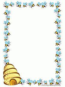 A imprimer, un papier à lettre orné d'abeilles avec leur ruche Borders For Paper, Borders And Frames, Honey Pictures, Buzz Bee, Bee Gifts, Bee Theme, Art Lessons Elementary, Binder Covers, Frame Crafts