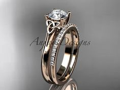 """yellow gold diamond celtic trinity knot wedding ring, engagement set with a """"Forever Brilliant"""" Moissanite center stone Wedding Ring Sets Unique, Unique Diamond Engagement Rings, Celtic Wedding Rings, Gold Diamond Wedding Band, White Gold Wedding Rings, Engagement Wedding Ring Sets, Engagement Ring Settings, Celtic Rings, White Gold Diamonds"""