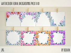 Watercolor Floral Backgrounds with Text Space, Watercolor Flowers Backgrounds Pack 8, Watercolor Flower Digital Paper, Floral Bloom Paper #scrapbook #scrapbooking #paper #floral #watercolor floral #background #etsy