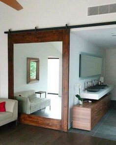 DIY barn door can be your best option when considering cheap materials for setting up a sliding barn door. DIY barn door requires a DIY barn door hardware and a Closet Mirror, Bedroom Closet Doors, Bathroom Doors, Mirror Door, Home Bedroom, Mirror Shelves, Bathroom Closet, Modern Bedroom, Diy Mirror