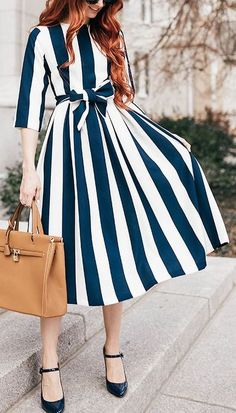 Blue and white bow striped dress