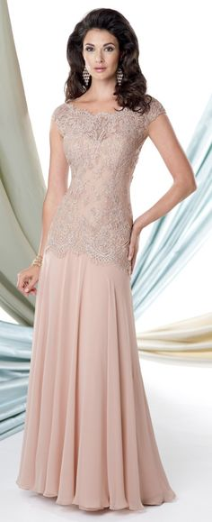 Chiffon A-line dress with lace cap sleeves, hand-beaded lace overlay with scalloped bateau neckline, sweetheart bodice with keyhole back. 114906