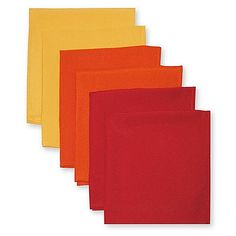 The attractive Solid Napkins quickly brighten up your table setting. Suitable for everyday use and entertaining. Set of six. 100% polyester. Each napkin measures 16 L x 16 W. Machine wash, cold.