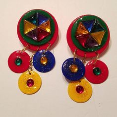Vintage handmade Multi-color earrings Made of paper, resin and jewels They are pierced dangle earrings The earrings hang about 3 long Vintage Costume Jewelry, Vintage Costumes, Vintage Jewelry, 80s Earrings, Dangle Earrings, Pierced Earrings, 80s Fashion, Vintage Fashion, Vintage Style Outfits