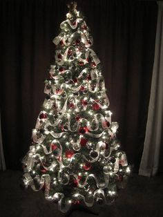 Christmas Tree Decorated with white ribbon