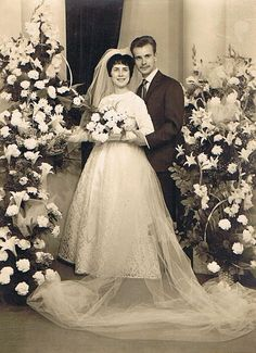 1961 bride and groom.
