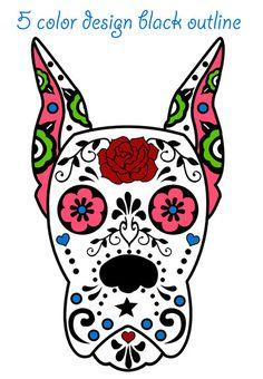 Sugar Skull Decal Custom Available by JennieDidIt on Etsy Sugar Skull Artwork, Sugar Scull, Dog Skull, Cigar Box Crafts, Day Of The Dead Art, Sugar Skull Tattoos, Halloween Skull, Skull And Bones, Retro Art