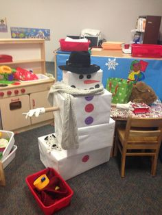 Do you want to build a snowman? Great for dramatic play! Preschool Christmas, Christmas Activities, Preschool Crafts, Preschool Winter, Preschool Learning, Dramatic Play Area, Dramatic Play Centers, Snow Dramatic Play, Preschool Dramatic Play