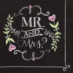 Creative Converting 18 Count Mr. and Mrs. Chalk Paper Beverage Napkins