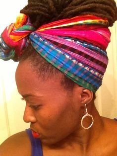 loc scarf wrapped hair style images - Google Search