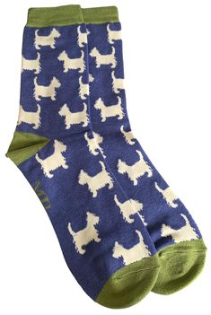 Men's blue and green coloured socks with a Westie dog print. Excellent quality, soft and stretchy bamboo / cotton blend fabric ( 54% Bamboo, 22% Cotton, 16% Polyester, 6% Nylon, 2% Elastane ) One size ( Mens UK Shoe size 8 - 12 ) FREE UK Delivery. Westie Dog, Scottie Dog, Westies, Bamboo Socks, West Highland Terrier, Colorful Socks, Novelty Print, Free Uk, Delivery