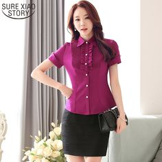 >> Click to Buy << 2017 new Korean style short-sleeved shirt fashion office lady's formal women's  blouse elegant ladies tops  60G 30 #Affiliate