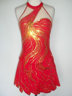 """the girl on fire"" CUSTOMIZED ICE SKATING BATON TWIRLING COSTUME DRESS"