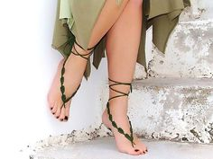 Green Leaf Barefoot Sandals - Eartisans Wiccan & Pagan Products