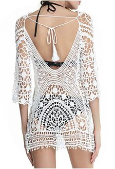 bb8402068a Ayliss Womens Beachwear Floral Lace Crochet Swimsuit Bikini Cover Up Tunic  Top, White One Size at Amazon Women's Clothing store: