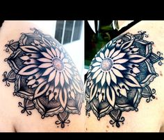 My shoulder sunflower Mandala tattoo by So Sorry Mom Tattoo Parlor!