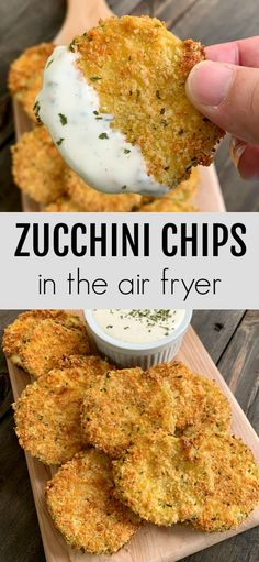 Air Fryer Oven Recipes, Air Frier Recipes, Air Fryer Dinner Recipes, Appetizer Recipes, Healthy Appetizers, Zucchini Chips, Pan Fried Zucchini, Cooking Zucchini, Zucchini Parmesan