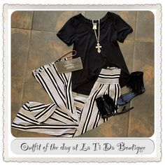 #ootd #outfitoftheday #cubism top #hazel pants #Brighton necklace #monab handbag #volatile fringe sandals find it all at #latidaboutique where we are #readyforspringweather